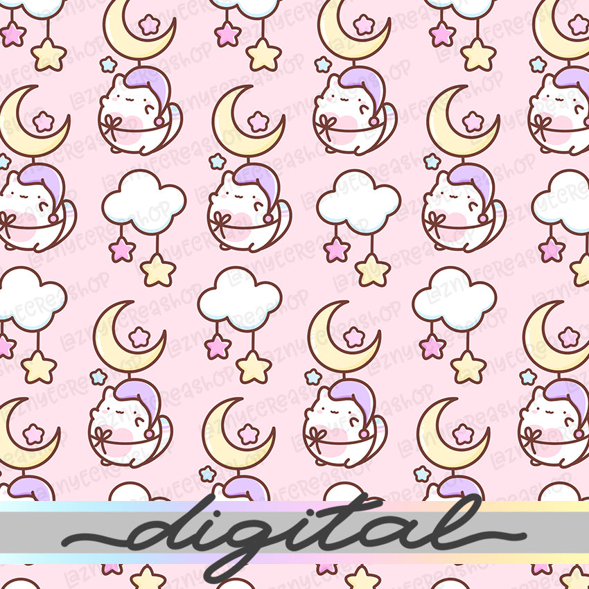 Printable Moon Digital Paper, Star, Cute, Cat, Paper Vellum, Doodle, Hand Draw, Cute, Bullet Journal, TN Vellum, JPG, PDF, Download