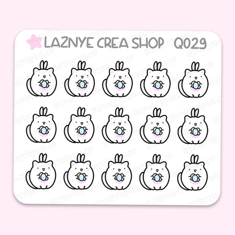 Easter Cat Mini Stickers, Spring, Cat, Eggs, Mini Sheet, 2$ stickers, Yume the Cat, Pastel Stickers, Planner Stickers, Bullet Journal Stickers, Hand Draw, Doodle