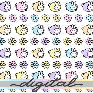 Easter Spring Digital Planner Paper, Bunny, Flower, Pastel, Cute Cat, Paper Vellum, Doodle, Hand Draw, Cute, JPG, PDF, Download