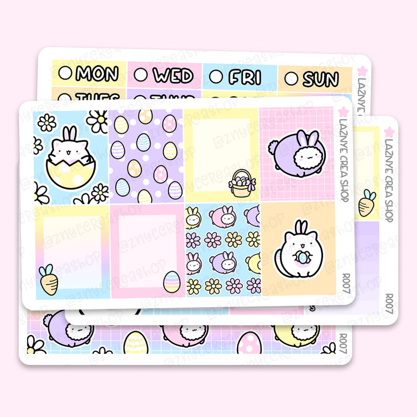 Easter Spring Erin Condren Weekly Sticker Kit, Bunny, Eggs, Flower, Planner Stickers, Hand Draw Stickers, Doodle Stickers