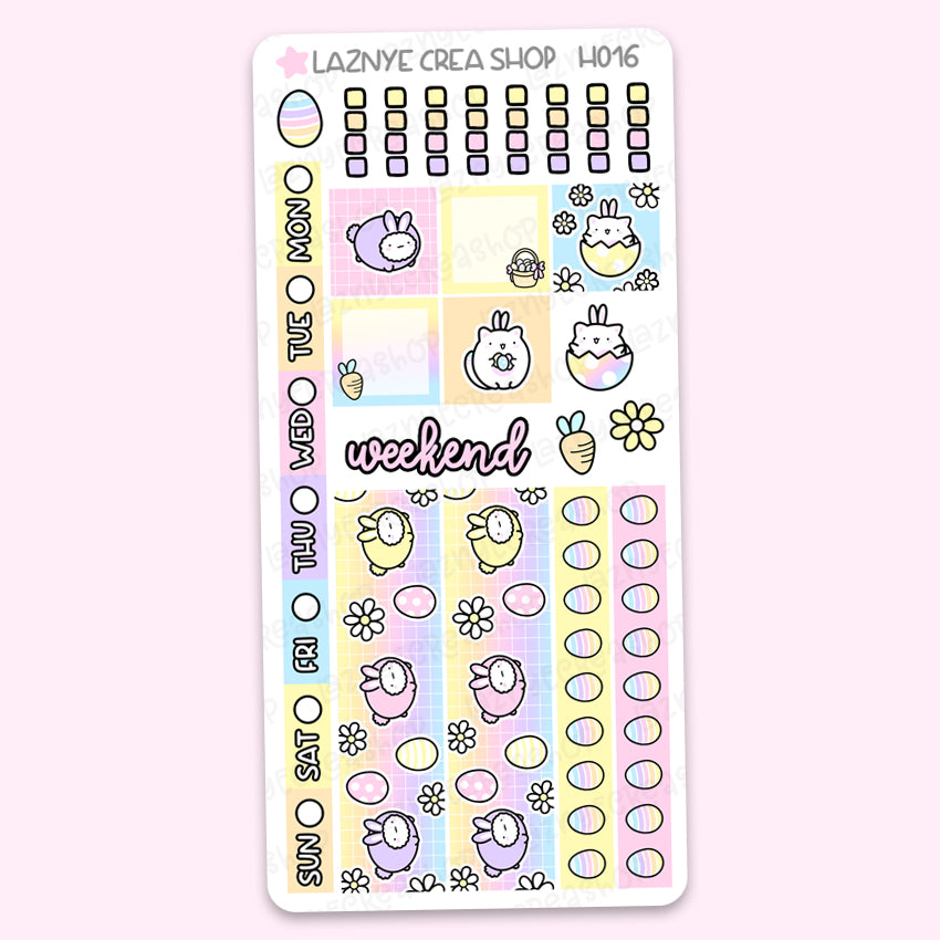 Easter Spring Hobonichi Weeks Stickers Kit, Eggs, Bunny, Flower, Hobonichi Stickers, Pastel Stickers, Planner Stickers, Hand Draw Stickers, Doodle Stickers