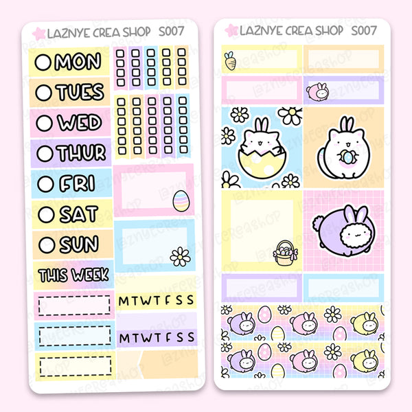 Easter Spring Print Pression Weeks Stickers Kit, Bunny, Eggs, Flower, Planner Stickers, Hand Draw Stickers, Doodle Stickers