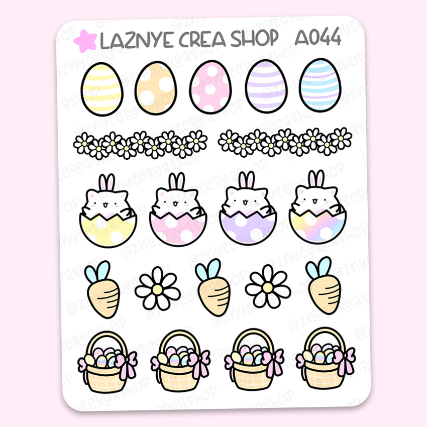 Easter Spring Cat Stickers, Bunny, Eggs, Flower, Cat, Cute Planner Stickers, Planner Stickers, Bullet Journal Stickers, Hand Draw Stickers, Doodle Stickers
