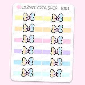 Rainbow Bow Banner Stickers, Ribbon Stickers, Functionals, Cute Planner Stickers, Planner Stickers, Bullet Journal Stickers, Hand Draw Stickers, Doodle Stickers