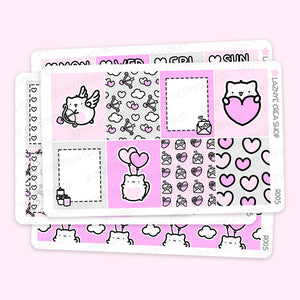 Valentine's Day Erin Condren Weekly Sticker Kit, Love, Cupid, Heart, Pink, Functional Stickers, Planner Stickers, Hand Draw Stickers, Doodle Stickers