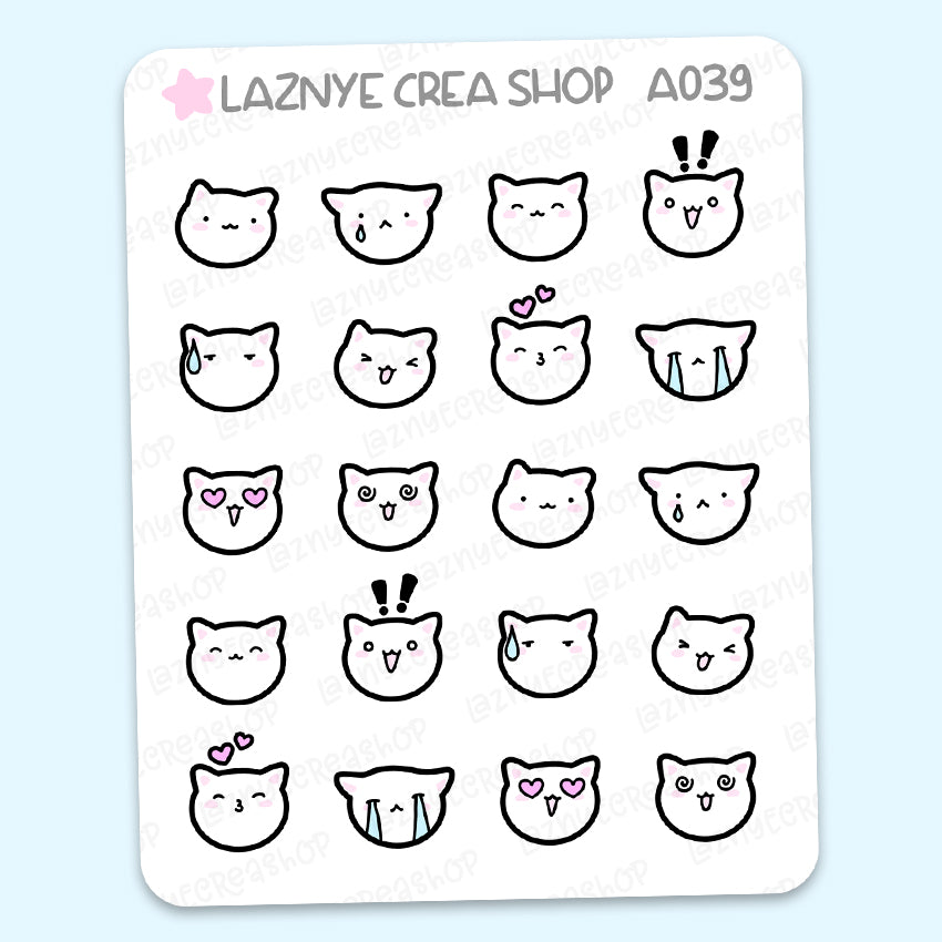Emoji Cat Heads Stickers, Emoti Planner Stickers, Smiley Cat Faces, Cute Planner Stickers, Planner Stickers, Bullet Journal Stickers, Hand Draw Stickers, Doodle Stickers