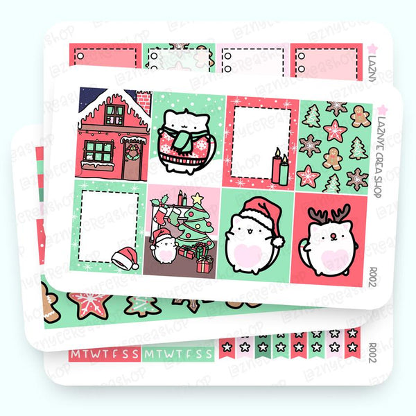 Christmas Erin Condren Weekly Sticker Kit, Christmas, Snow, Santa, Gingerbread, Deer, Functional Stickers, Planner Stickers, Hand Draw Stickers, Doodle Stickers