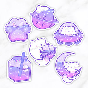 Galaxy Cute Cat Diecut, Paw Stickers, Space Cute Vinyl Stickers, Cardstock, Kawaii Diecut, Doodle Planner Diecut, Kawaii Doodle
