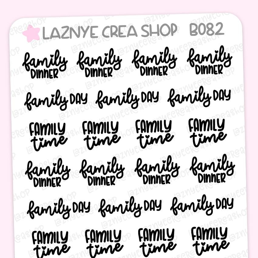 Family Dinner Script Planner Stickers, Family Day Planner Stickers, Family Time Stickers, Scrip Words, Lettering Planner Stickers, Font Stickers, Handwritting Planner Stickers, Bullet Journal Stickers