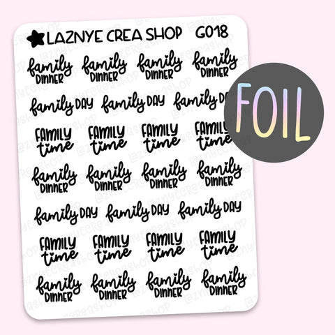 Family Script Foil Planner Stickers, Family Day Planner Stickers, Family Time Stickers, Holographic Foil Stickers, Gold Foil Stickers, Silver Foil Stickers, Rose Gold Foil Stickers