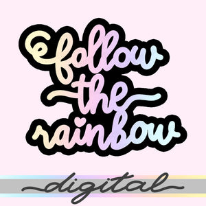 Follow The Rainbow Digital Diecut, Lettering Planner Diecut, Unicorn Planner Digital Dicut, Kawaii Doodle, Clipart, Clip arts, PNG, Download
