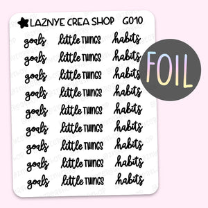 Goals Script Foil Planner Stickers, Little Things Stickers, Habits Stickers, Font, Holographic Foil Stickers, Gold Foil Stickers, Silver Foil Stickers, Rose Gold Foil Stickers