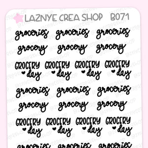 Grocery Script Planner Stickers, Groceries Stickers, Grocery Day Stickers, Scrip Words, Lettering Planner Stickers, Font Stickers, Handwritting Planner Stickers, Bullet Journal Stickers