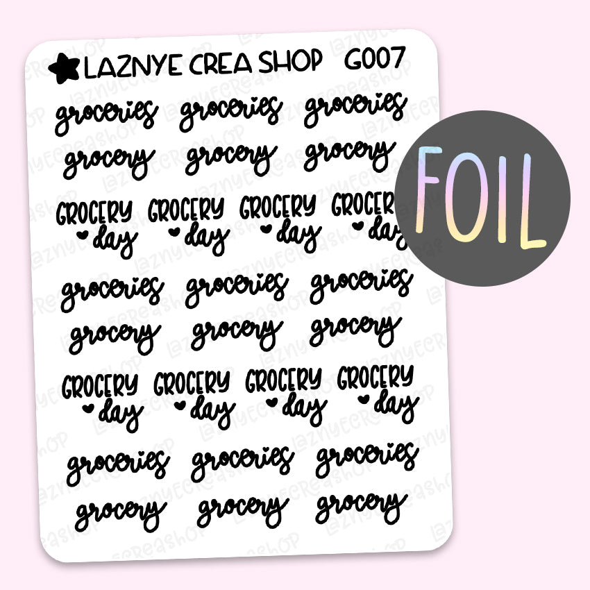 Grocery Script Foil Planner Stickers, Groceries Stickers, Grocery Day Stickers, Font, Holographic Foil Stickers, Gold Foil Stickers, Silver Foil Stickers, Rose Gold Foil Stickers