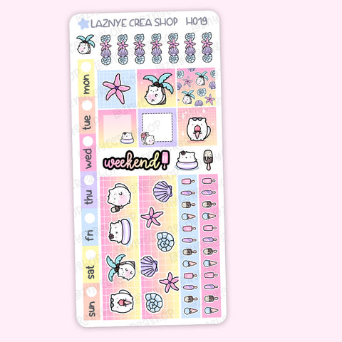 Summer Hobonichi Weeks Stickers Kit, Planner Stickers, Hand Draw Stickers, Doodle Stickers