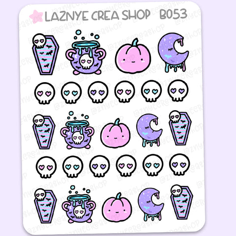 Halloween Stickers, Cauldron, Skull, Spooky Diecut, Bat, Coffin, Ghost, Skull, Pastel Goth, Fall, Pumpkin, Witch, Pastel Stickers, Functional Stickers, Planner Stickers, Bullet Journal Stickers, Hand Draw Stickers, Doodle Stickers