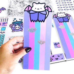 Hobonichi Halloween Pencil Board, Halloween, Cat, Bat, Spooky, Pastel Goth, Fall, Autumn, Holo Glitter, Vinyl Bookmark, Laminated, Planner Page Marker, Kawaii bookmark, kawaii planner page marker