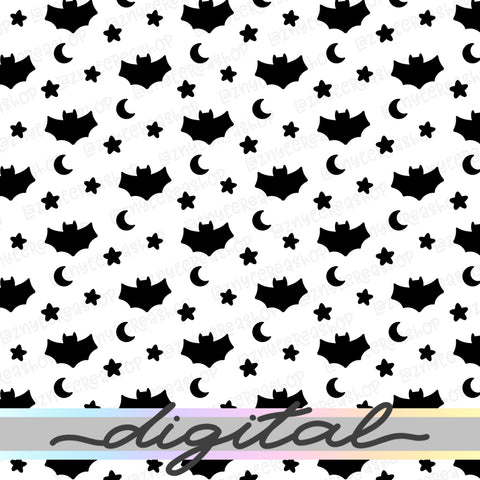 Printable Halloween Digital Paper, Spooky Paper, Bat, Star, Moon, Pastel Goth, Paper Vellum, Doodle, Hand Draw, Cute, Bullet Journal, TN Vellum, JPG, PDF, Download