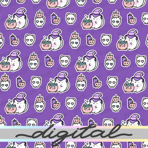 Printable Halloween Digital Paper, Spooky Paper, Pumpkin, Wizard, Skull, Pastel Goth, Paper Vellum, Doodle, Hand Draw, Cute, Bullet Journal, TN Vellum, JPG, PDF, Download