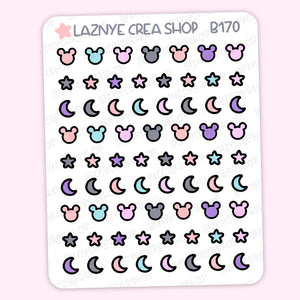 Tiny Magical Stickers, Halloween, Moon, Star, Coding Stickers, Code Stickers, Pastel Stickers, Functional Stickers, Hand Draw Stickers, Doodle Stickers