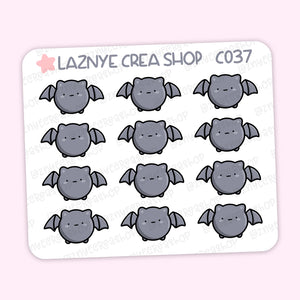Halloween Mini Stickers, Bat, Spooky, Mini Sheet, 2$ stickers, Yume the Cat, Functional Stickers, Planner Stickers, Hand Draw, Doodle