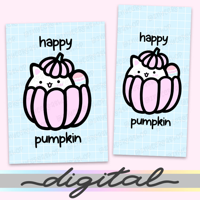 Printable Happy Pumpkin Planner Dashboard, Fall, Halloween, Autumn, Cat, Cute, Kawaii, Cover Print Cover B6 A6 A5 Mini Happy Planner Pocket Personal Wide Hobonichi Micro TN Inserts PDF