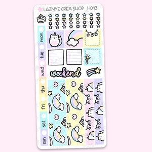 Unicorn Hobonichi Weeks Stickers Kit, Rainbow Hobonichi Stickers, Hobonichi Stickers, Pastel Stickers, Functional Stickers, Planner Stickers, Hand Draw Stickers, Doodle Stickers