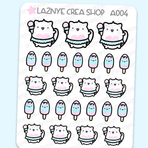 Ice Cream Cat Summer Stickers, Pastel Stickers, Functional Stickers, Planner Stickers, Bullet Journal Stickers, Hand Draw Stickers, Doodle Stickers