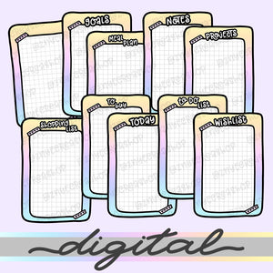 Printable Inserts Die Cuts, To Buy Goals Today Notes Meal Plan Wishlist Projects To Do List Rainbow Clipart Pocket insert Planner Diecut