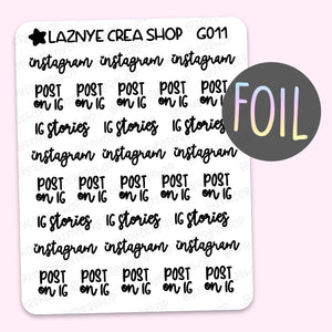 Social Media Script Foil Stickers #G011