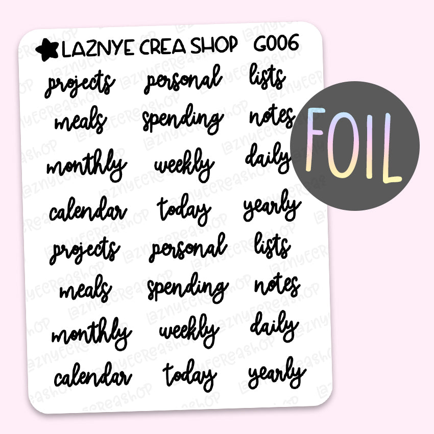 Labels Script Foil Planner Stickers,Projects, Personal, Lists, Meals, Spending, Notes, Weekly, Daily, Calendar, Lettering Stickers, Font, Holographic Foil Stickers, Gold Foil Stickers, Silver Foil Stickers, Rose Gold Foil Stickers
