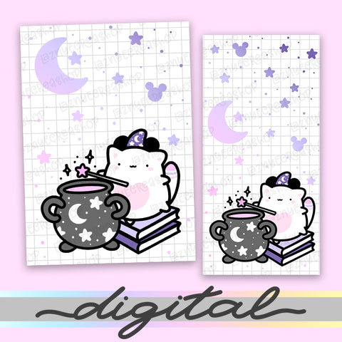Printable Wizard Planner Dashboard, Magical, Moon, Star, Halloween, Cover Print Cover B6 A6 A5 Mini Happy Planner Pocket Personal Wide Hobonichi Micro TN Inserts PDF
