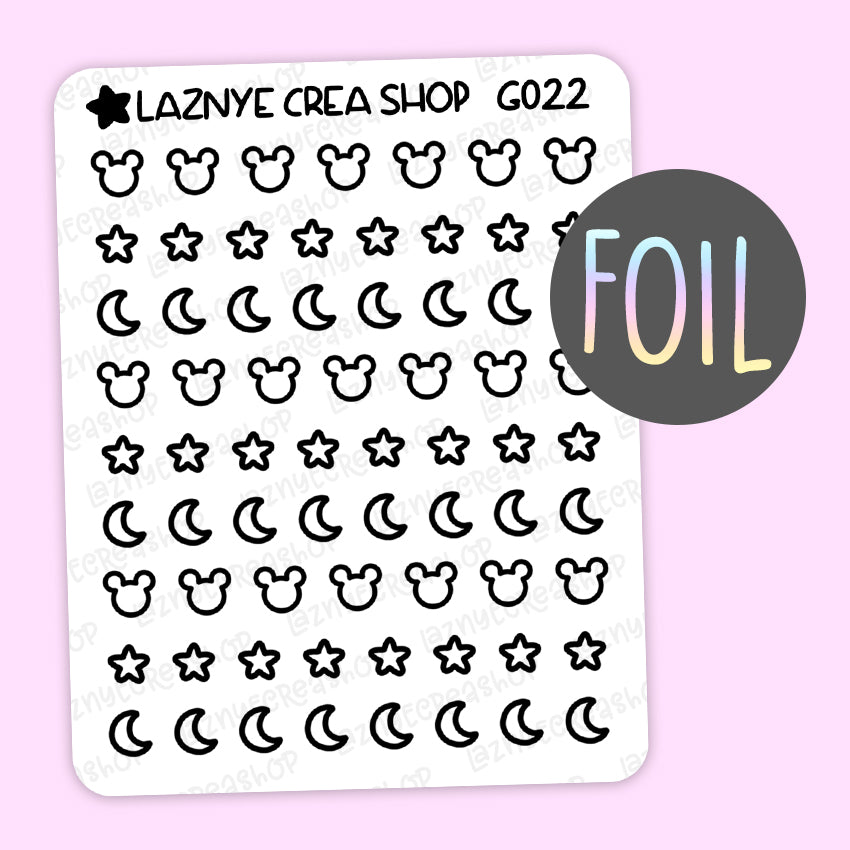 Tiny Magical Foil Stickers, Moon, Star, Coding Stickers, Code Stickers, Holographic Foil Stickers, Gold Foil Stickers, Silver Foil Stickers, Rose Gold Foil Stickers, Ribbon Stickers