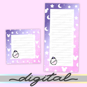 Printable Wizard Notepads, Moon, Magical, Halloween, Notes, To do list, Planner Diecut, Cute Clipart, Insert, Planner Diecut, Bullet Journal