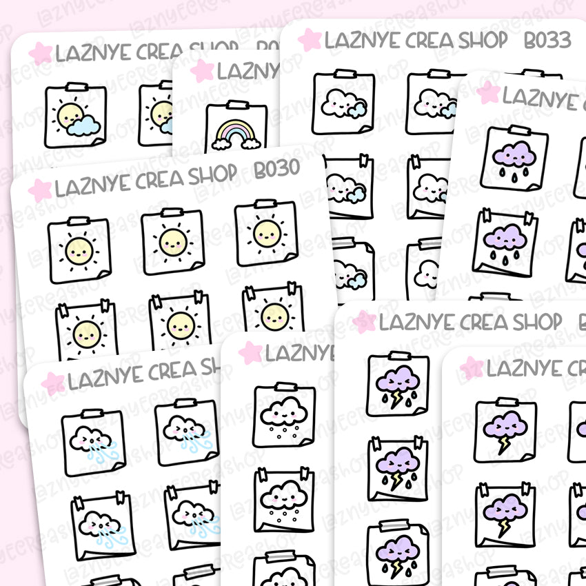 Hobonichi Weather Icon Stickers, Sun Stickers, Cloud Stickers, Rainbow, Functional Stickers, Planner Stickers, Bullet Journal Stickers, Hand Draw Stickers