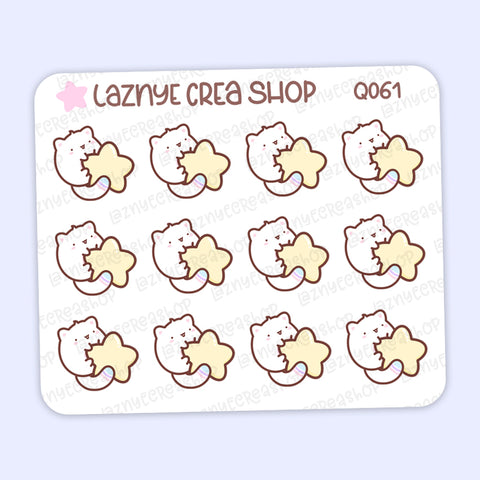 Moon Cat Mini Stickers, Star, Cat, Mini Sheet, 2$ stickers, Yume the Cat, Pastel Stickers, Planner Stickers