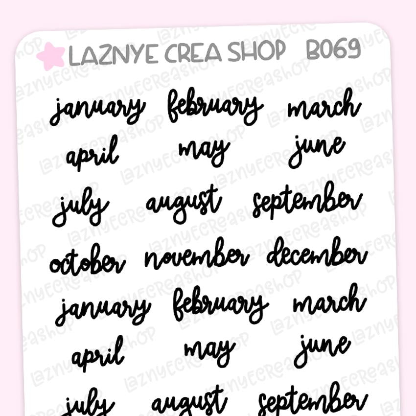Months Script Planner Stickers, Months of the Year, Monthly Stickers, Scrip Words, Lettering Planner Stickers, Font Stickers, Handwritting Planner Stickers, Bullet Journal Stickers