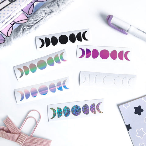 Moon Phase Vinyl Decal, Planner Vinyl Stickers, Spooky, Halloween, Moon Phase, Moon Child, Pastel Goth, Planner Vinyl Decal, Paper Clip Vinyl Decal, Vinyl Decal, Holo Silver Vinyl Decal, Holo Glitter Sticker