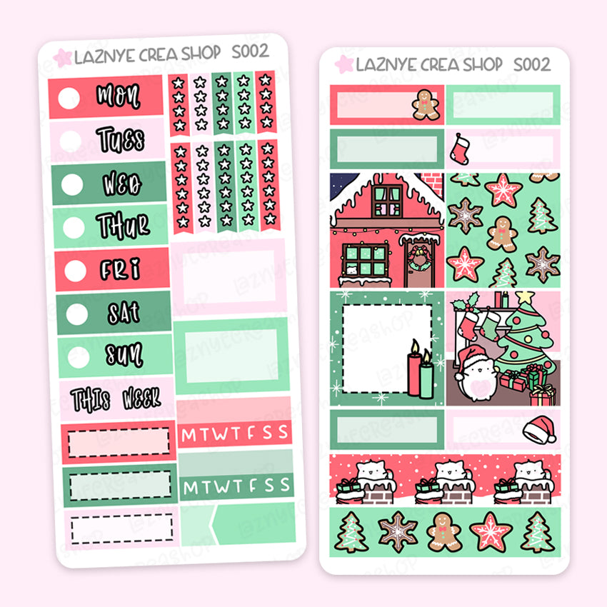 Christmas Print Pression Weeks Stickers Kit, Christmas, Snow, Functional Stickers, Planner Stickers, Hand Draw Stickers, Doodle Stickers