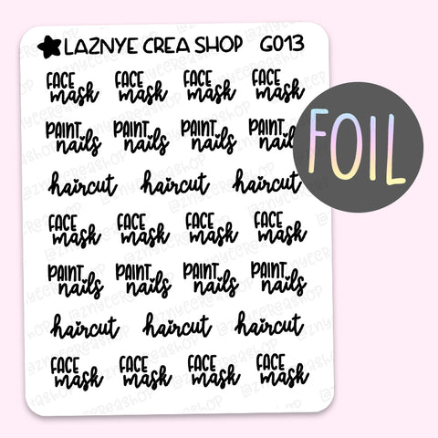 Face Mask Script Foil Planner Stickers, Paint Nails Stickers, Haircut Stickers, Font, Holographic Foil Stickers, Gold Foil Stickers, Silver Foil Stickers, Rose Gold Foil Stickers