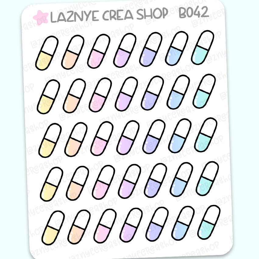 Pill Stickers, Rainbow Stickers, Pastel Stickers, Functional Stickers, Planner Stickers, Bullet Journal Stickers, Hand Draw Stickers, Doodle Stickers