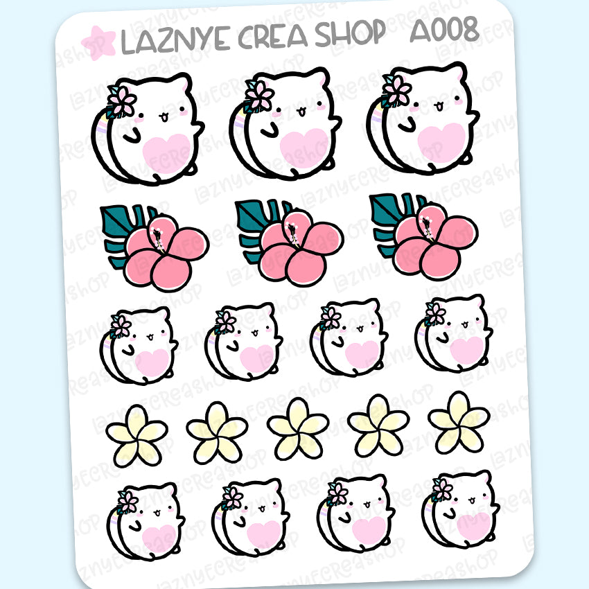 Aloha Tropical Summer Cat Stickers, Summer Stickers, Planner Stickers, Bullet Journal Stickers, Hand Draw Stickers, Doodle Stickers