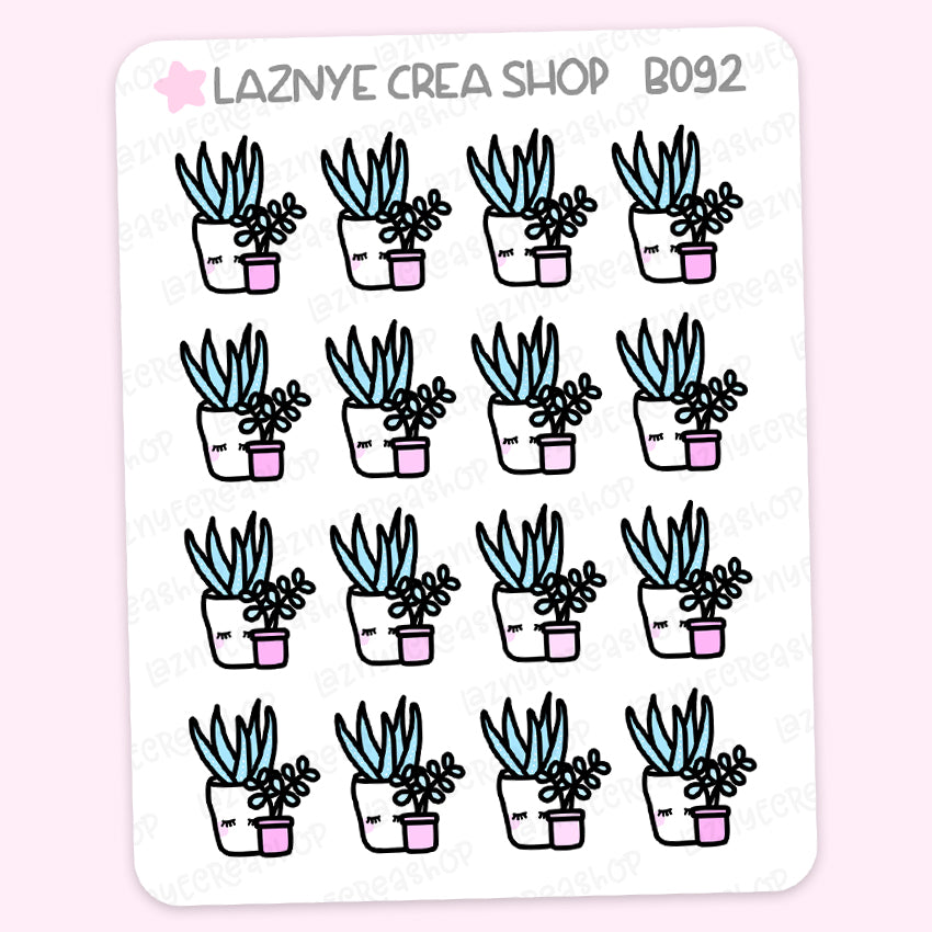 Plant Planner Stickers, Succulents, Pink Stickers, Pastel Planner Stickers, Functional Stickers, Planner Stickers, Bullet Journal Stickers, Hand Draw Stickers, Doodle Stickers
