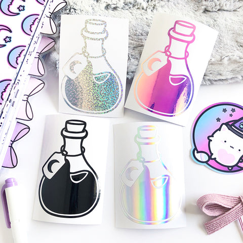 Potion Vinyl Decal, Planner Vinyl Stickers, Spooky, Halloween, Witch, Moon Child, Pastel Goth, Planner Vinyl Decal, Holo Silver Vinyl Decal, Holo Glitter Stickers