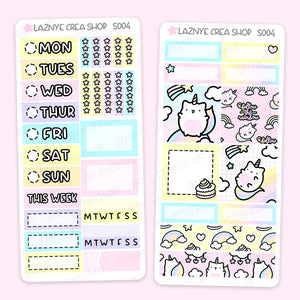 Unicorn Print Pression Weeks Stickers Kit, Rainbow, Cat, Functional Stickers, Planner Stickers, Hand Draw Stickers, Doodle Stickers