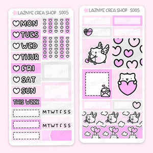 Valentine's Day Print Pression Weeks Stickers Kit, Love, Cupid, Heart, Pink, Cat, Planner Stickers, Hand Draw Stickers, Doodle Stickers