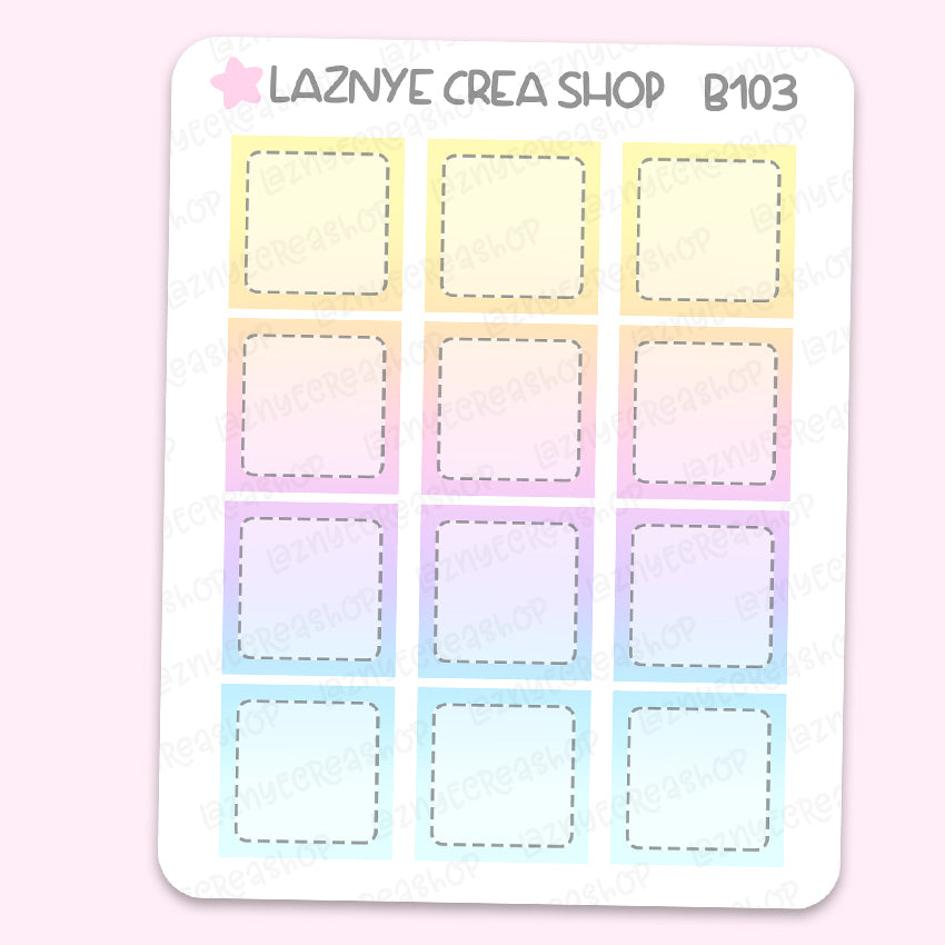 Rainbow Hobonichi Box Stickers, Functional Stickers, Planner Stickers, Bullet Journal Stickers, Hand Draw Stickers