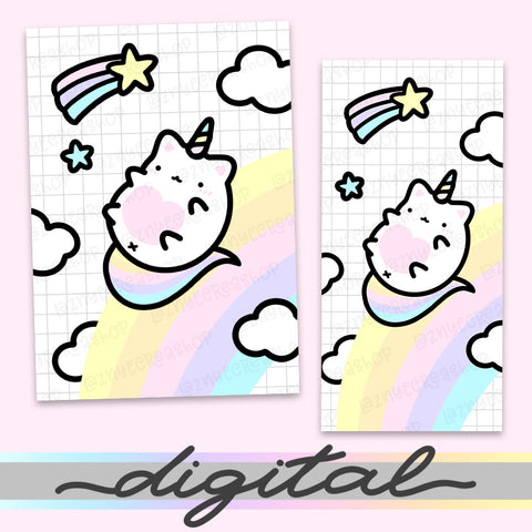 Printable Unicorn Planner Dashboard, Rainbow, Cloud, Cute, Cat, Cover Print Cover B6 A6 A5 Mini Happy Planner Pocket Personal Wide Hobonichi Micro TN Inserts PDF