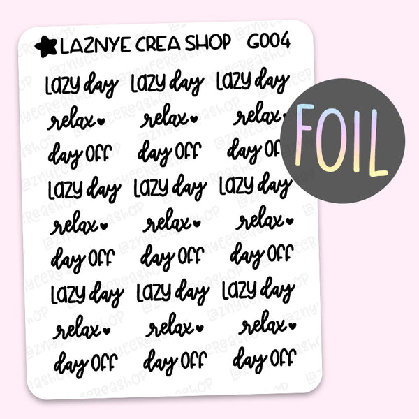 Lazy Day Word Foil Planner Stickers, Relax Stickers, Day Off Stickers, Scrip Words, Lettering Planner Stickers, Font Stickers, Holographic Foil Stickers, Gold Foil Stickers, Silver Foil Stickers, Rose Gold Foil Stickers