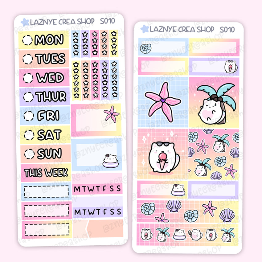 Summer Print Pression Weeks Stickers Kit, Planner Stickers, Hand Draw Stickers, Doodle Stickers